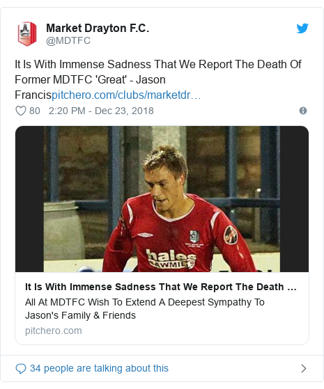Twitter post by @MDTFC: It Is With Immense Sadness That We Report The Death Of Former MDTFC 'Great' - Jason Francis