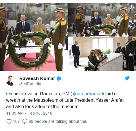 Twitter post by @MEAIndia: On his arrival in Ramallah, PM @narendramodi laid a wreath at the Mausoleum of Late President Yasser Arafat and also took a tour of the museum.
