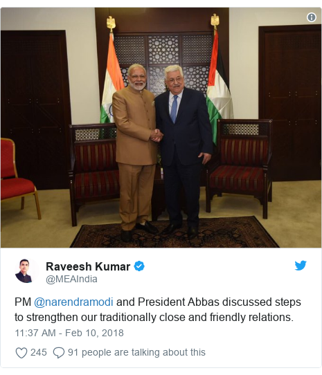 Twitter post by @MEAIndia: PM @narendramodi and President Abbas discussed steps to strengthen our traditionally close and friendly relations.