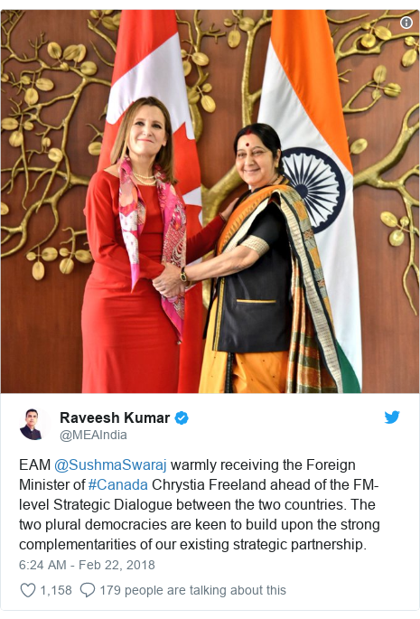 Twitter post by @MEAIndia: EAM @SushmaSwaraj warmly receiving the Foreign Minister of #Canada Chrystia Freeland ahead of the FM-level Strategic Dialogue between the two countries. The two plural democracies are keen to build upon the strong complementarities of our existing strategic partnership.