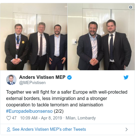 Twitter post by @MEPvistisen: Together we will fight for a safer Europe with well-protected external borders, less immigration and a stronger cooperation to tackle terrorism and islamisation #Europadelbuonsenso (2/2)