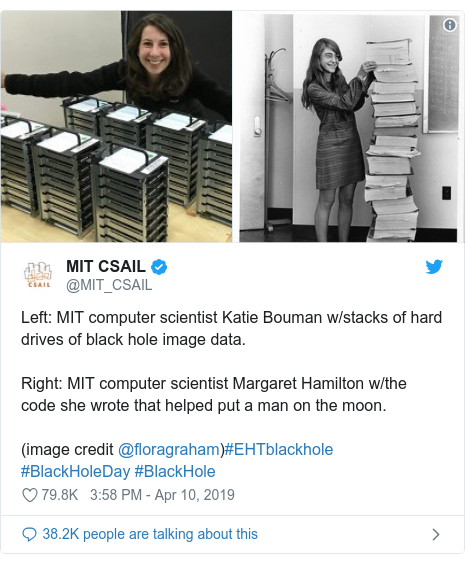 Twitter post by @MIT_CSAIL: Left  MIT computer scientist Katie Bouman w/stacks of hard drives of black hole image data. Right  MIT computer scientist Margaret Hamilton w/the code she wrote that helped put a man on the moon.(image credit @floragraham)#EHTblackhole #BlackHoleDay #BlackHole