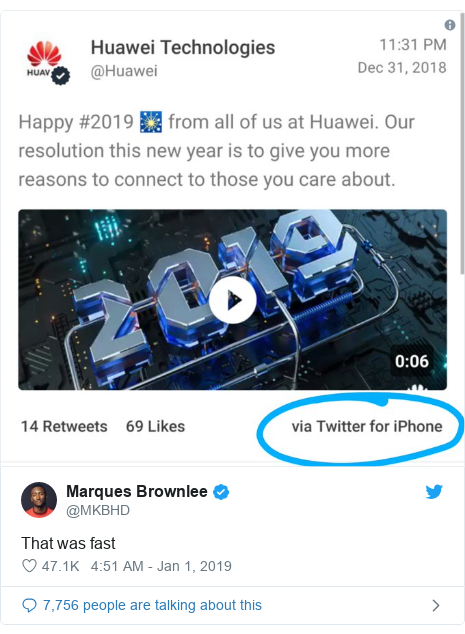 Twitter post by @MKBHD: That was fast