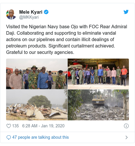Twitter post by @MKKyari: Visited the Nigerian Navy base Ojo with FOC Rear Admiral Daji. Collaborating and supporting to eliminate vandal actions on our pipelines and contain illicit dealings of petroleum products. Significant curtailment achieved. Grateful to our security agencies.