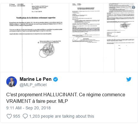 Twitter post by @MLP_officiel: C'est proprement HALLUCINANT. Ce régime commence VRAIMENT à faire peur. MLP