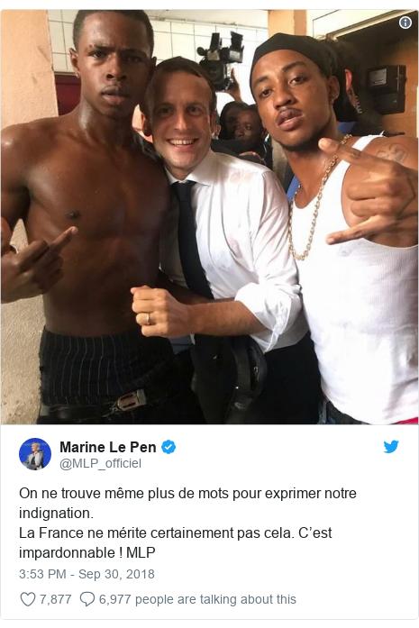 Twitter post by @MLP_officiel: On ne trouve même plus de mots pour exprimer notre indignation.La France ne mérite certainement pas cela. C'est impardonnable ! MLP