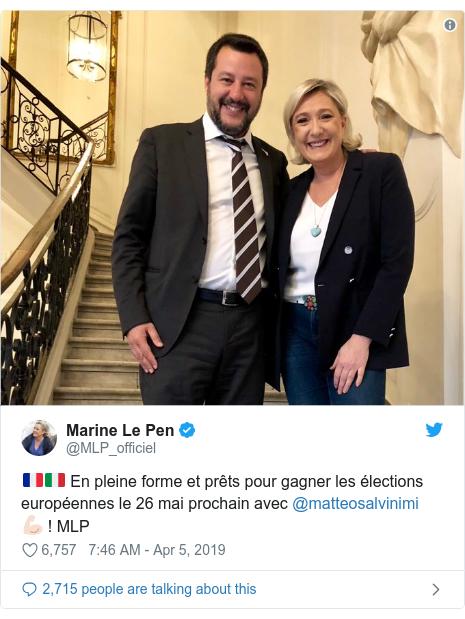 Twitter post by @MLP_officiel: 🇫🇷🇮🇹 En pleine forme et prêts pour gagner les élections européennes le 26 mai prochain avec @matteosalvinimi 💪🏻 ! MLP
