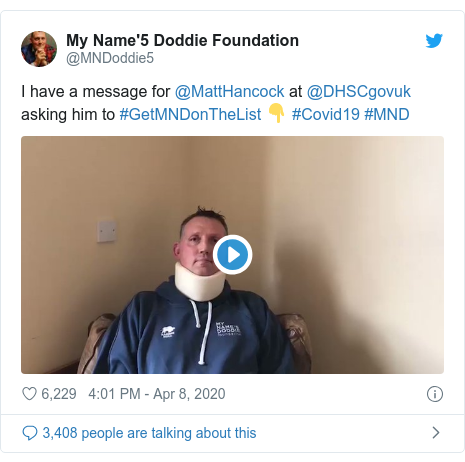 Twitter post by @MNDoddie5: I have a message for @MattHancock at @DHSCgovuk asking him to #GetMNDonTheList 👇 #Covid19 #MND