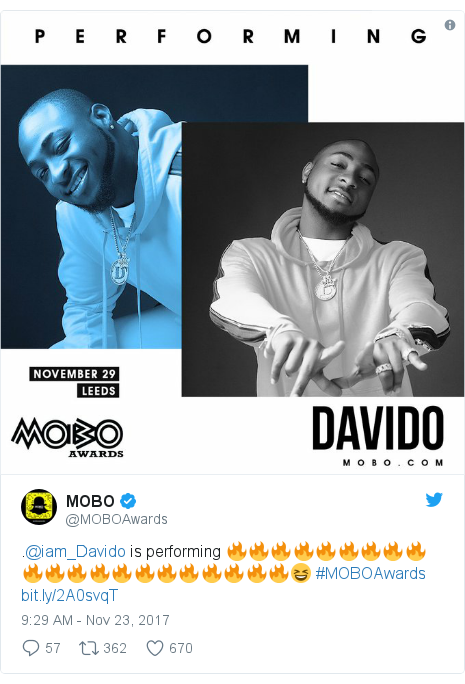 Twitter post by @MOBOAwards: .@iam_Davido is performing 🔥🔥🔥🔥🔥🔥🔥🔥🔥🔥🔥🔥🔥🔥🔥🔥🔥🔥🔥🔥🔥😆 #MOBOAwards