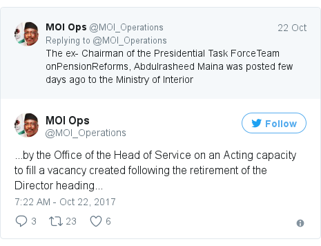 Twitter post by @MOI_Operations: ...by the Office of the Head of Service on an Acting capacity to fill a vacancy created following the retirement of the Director heading...