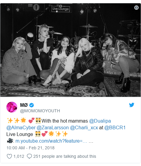 Twitter post by @MOMOMOYOUTH: ✨✨🌟 💕👯With the hot mammas @Dualipa @AlmaCyber @ZaraLarsson @Charli_xcx at @BBCR1 Live Lounge 👯💕🌟✨✨🎥   …
