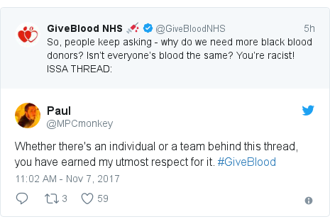 Twitter post by @MPCmonkey: Whether there's an individual or a team behind this thread, you have earned my utmost respect for it. #GiveBlood