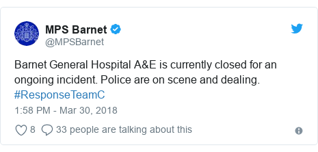 Twitter post by @MPSBarnet: Barnet General Hospital A&E is currently closed for an ongoing incident. Police are on scene and dealing. #ResponseTeamC