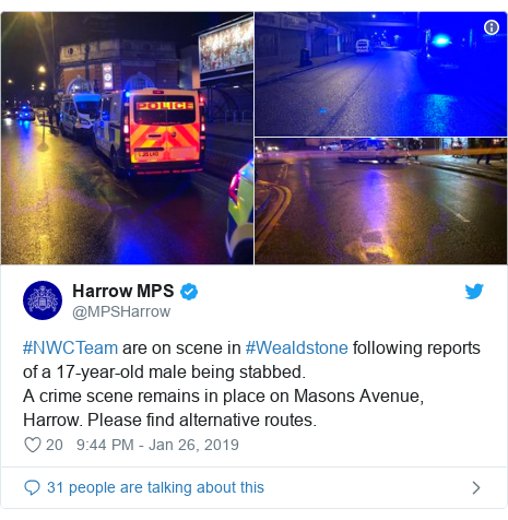 Twitter post by @MPSHarrow: #NWCTeam are on scene in #Wealdstone following reports of a 17-year-old male being stabbed. A crime scene remains in place on Masons Avenue, Harrow. Please find alternative routes.