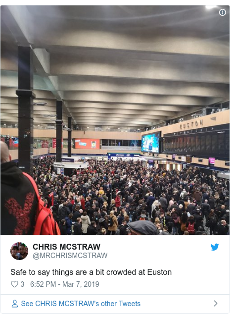 Twitter post by @MRCHRISMCSTRAW: Safe to say things are a bit crowded at Euston