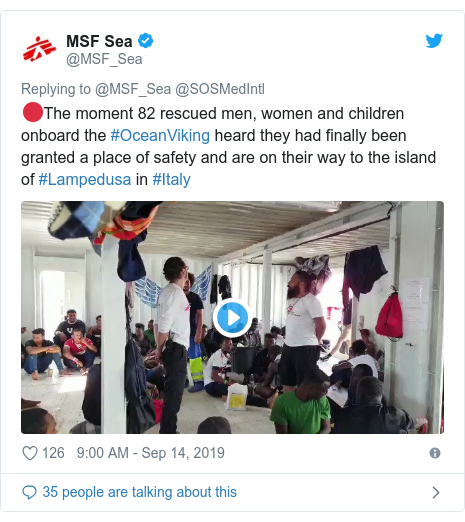 Twitter post by @MSF_Sea: 🔴The moment 82 rescued men, women and children onboard the #OceanViking heard they had finally been granted a place of safety and are on their way to the island of #Lampedusa in #Italy