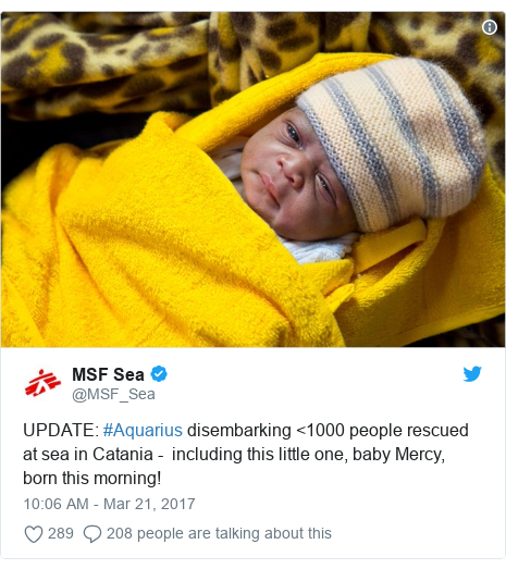 Twitter post by @MSF_Sea: UPDATE  #Aquarius disembarking <1000 people rescued at sea in Catania -  including this little one, baby Mercy, born this morning!