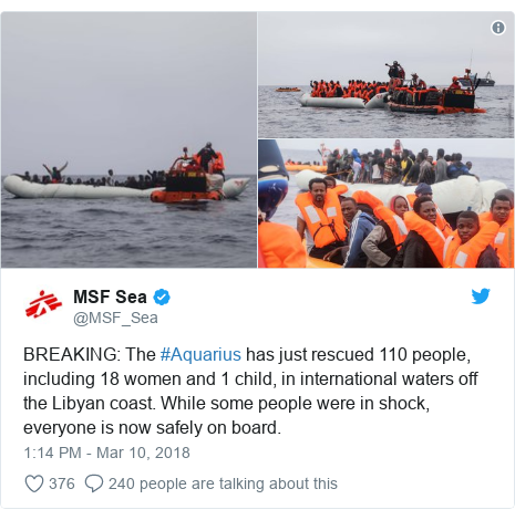Twitter post by @MSF_Sea: BREAKING  The #Aquarius has just rescued 110 people, including 18 women and 1 child, in international waters off the Libyan coast. While some people were in shock, everyone is now safely on board.