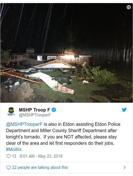 Twitter post by @MSHPTrooperF: @MSHPTrooperF is also in Eldon assisting Eldon Police Department and Miller County Sheriff Department after tonight's tornado.  If you are NOT affected, please stay clear of the area and let first responders do their jobs.  #MoWx
