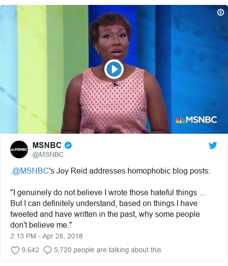 """Twitter post by @MSNBC: .@MSNBC's Joy Reid addresses homophobic blog posts """"I genuinely do not believe I wrote those hateful things ... But I can definitely understand, based on things I have tweeted and have written in the past, why some people don't believe me."""""""