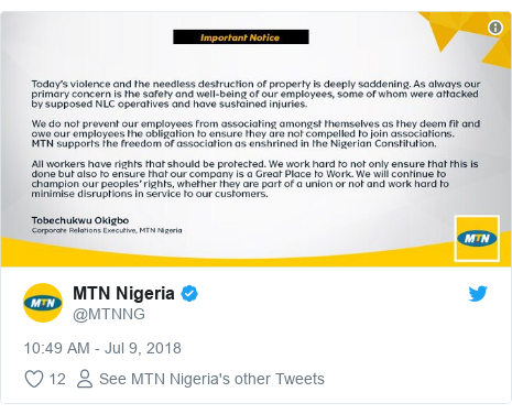 Twitter post by @MTNNG: