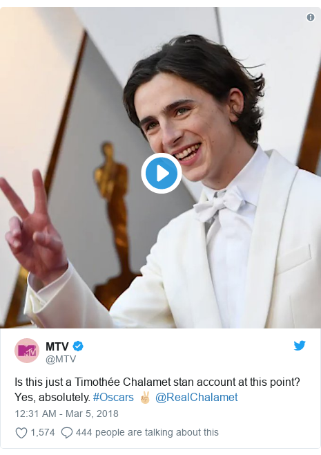Twitter post by @MTV: Is this just a Timothée Chalamet stan account at this point? Yes, absolutely. #Oscars ✌🏼 @RealChalamet