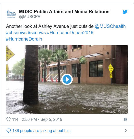 Twitter post by @MUSCPR: Another look at Ashley Avenue just outside @MUSChealth #chsnews #scnews #HurricaneDorian2019 #HurricaneDorain