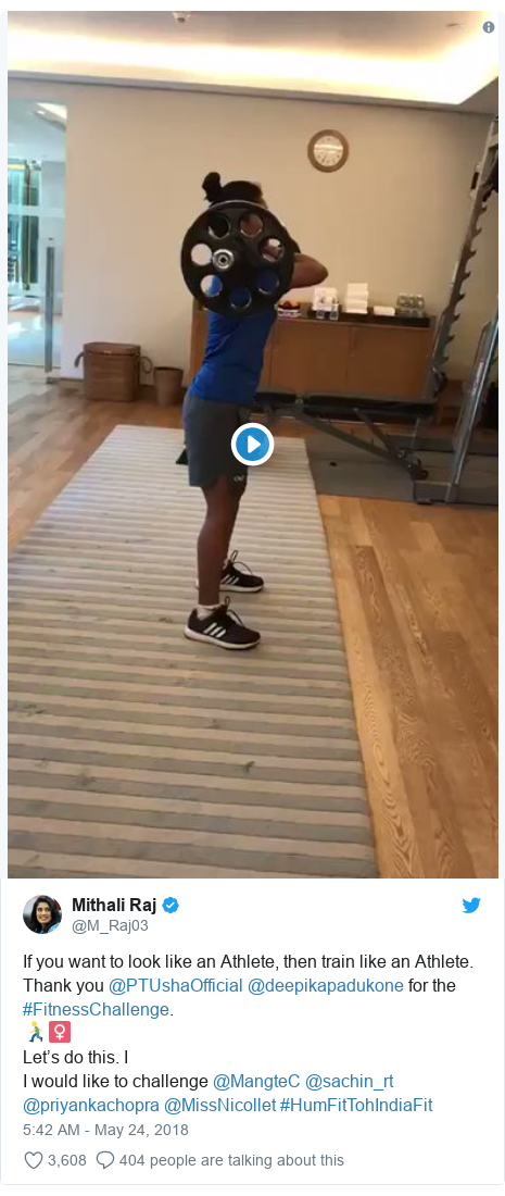 Twitter post by @M_Raj03: If you want to look like an Athlete, then train like an Athlete. Thank you @PTUshaOfficial @deepikapadukone for the #FitnessChallenge.🏃🏼♀Let's do this. I I would like to challenge @MangteC @sachin_rt @priyankachopra @MissNicollet #HumFitTohIndiaFit