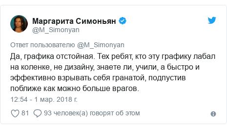 Twitter пост, автор: @M_Simonyan: Да, графика отстойная. Тех ребят, кто эту графику лабал на коленке, не дизайну, знаете ли, учили, а быстро и эффективно взрывать себя гранатой, подпустив поближе как можно больше врагов.