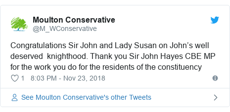 Twitter post by @M_WConservative: Congratulations Sir John and Lady Susan on John's well deserved  knighthood. Thank you Sir John Hayes CBE MP for the work you do for the residents of the constituency