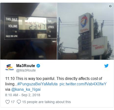 Ujumbe wa Twitter wa @Ma3Route: 11 10 This is way too painful. This directly affects cost of living...#PunguzaBeiYaMafuta   via @kana_ka_Ngai