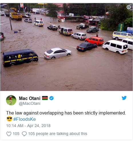 Twitter post by @MacOtani: The law against overlapping has been strictly implemented. 😎 #FloodsKe