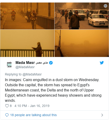Twitter post by @MadaMasr: In images  Cairo engulfed in a dust storm on Wednesday. Outside the capital, the storm has spread to Egypt's Mediterranean coast, the Delta and the north of Upper Egypt, which have experienced heavy showers and strong winds.