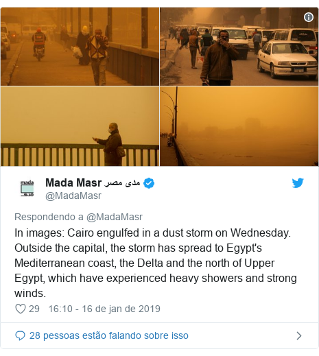 Twitter post de @MadaMasr: In images  Cairo engulfed in a dust storm on Wednesday. Outside the capital, the storm has spread to Egypt's Mediterranean coast, the Delta and the north of Upper Egypt, which have experienced heavy showers and strong winds.