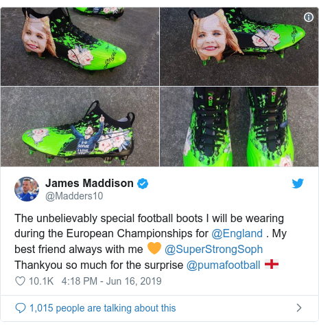 Twitter post by @Madders10: The unbelievably special football boots I will be wearing during the European Championships for @England . My best friend always with me 🧡 @SuperStrongSoph Thankyou so much for the surprise @pumafootball 🏴󠁧󠁢󠁥󠁮󠁧󠁿