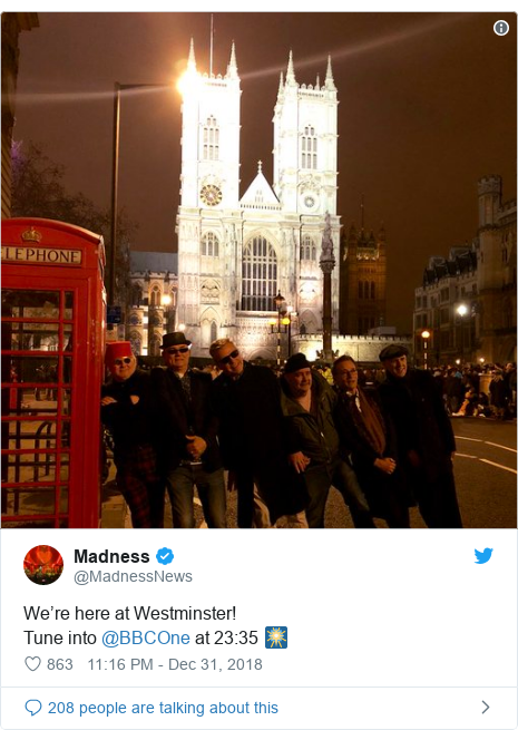 Twitter post by @MadnessNews: We're here at Westminster!Tune into @BBCOne at 23 35 🎆
