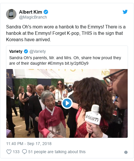 Twitter post by @MagicBranch: Sandra Oh's mom wore a hanbok to the Emmys! There is a hanbok at the Emmys! Forget K-pop, THIS is the sign that Koreans have arrived.