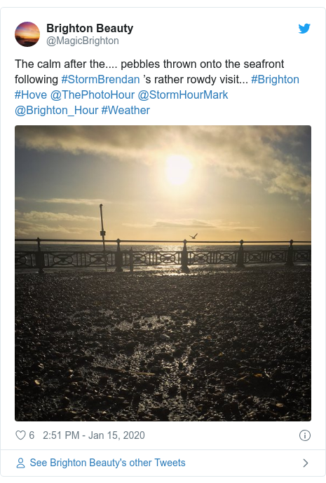 Twitter post by @MagicBrighton: The calm after the.... pebbles thrown onto the seafront following #StormBrendan 's rather rowdy visit... #Brighton #Hove @ThePhotoHour @StormHourMark @Brighton_Hour #Weather