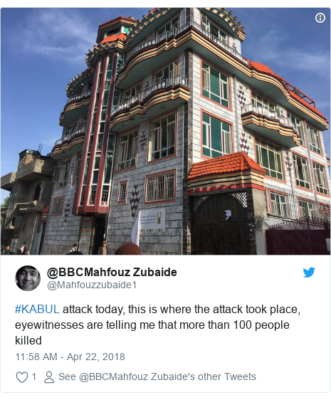 Twitter post by @Mahfouzzubaide1: #KABUL attack today, this is where the attack took place, eyewitnesses are telling me that more than 100 people killed