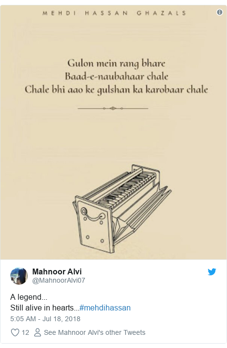 Twitter post by @MahnoorAlvi07: A legend...Still alive in hearts...#mehdihassan