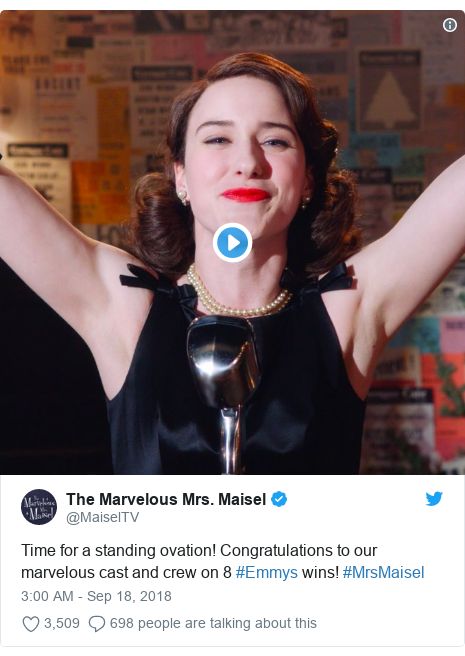 Twitter post by @MaiselTV: Time for a standing ovation! Congratulations to our marvelous cast and crew on 8 #Emmys wins! #MrsMaisel
