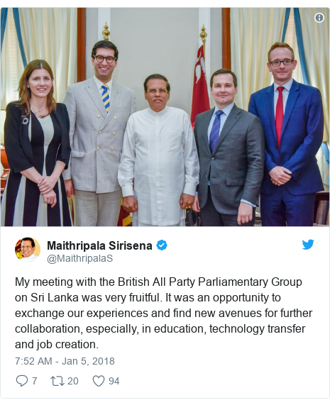 Twitter හි @MaithripalaS කළ පළකිරීම: My meeting with the British All Party Parliamentary Group on Sri Lanka was very fruitful. It was an opportunity to exchange our experiences and find new avenues for further collaboration, especially, in education, technology transfer and job creation.