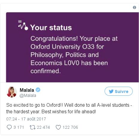Twitter publication par @Malala