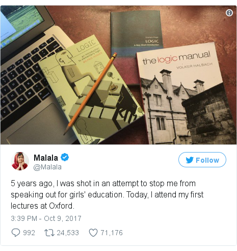 Twitter post by @Malala: 5 years ago, I was shot in an attempt to stop me from speaking out for girls' education. Today, I attend my first lectures at Oxford. pic.twitter.com/sXGnpU1KWQ
