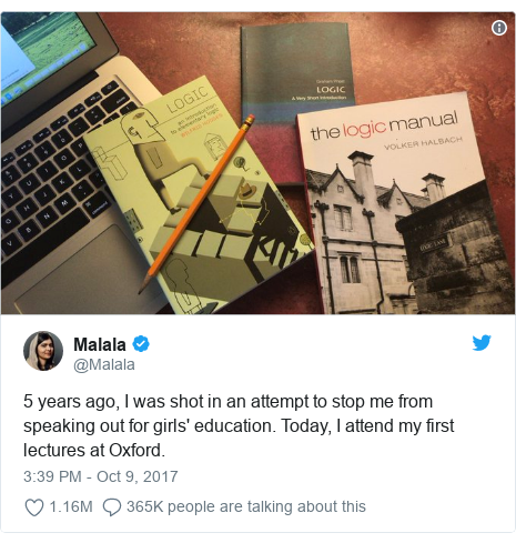 Twitter post by @Malala: 5 years ago, I was shot in an attempt to stop me from speaking out for girls' education. Today, I attend my first lectures at Oxford.