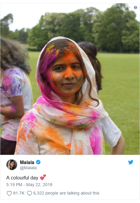 Twitter post by @Malala: A colourful day 💕