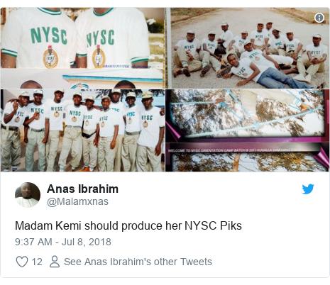 Twitter wallafa daga @Malamxnas: Madam Kemi should produce her NYSC Piks