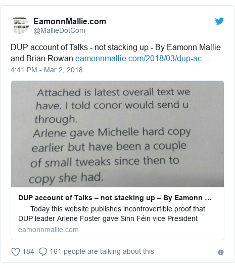 Twitter post by @MallieDotCom: DUP account of Talks - not stacking up - By Eamonn Mallie and Brian Rowan