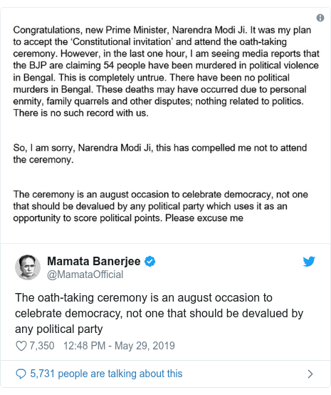 Twitter හි @MamataOfficial කළ පළකිරීම: The oath-taking ceremony is an august occasion to celebrate democracy, not one that should be devalued by any political party