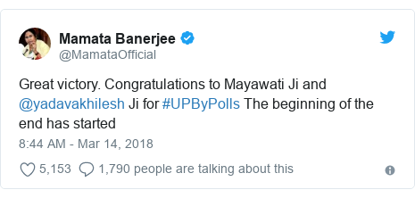 Twitter post by @MamataOfficial: Great victory. Congratulations to Mayawati Ji and @yadavakhilesh Ji for #UPByPolls The beginning of the end has started